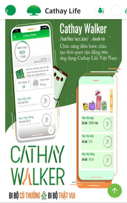 Ứng dụng Cathay Walker – ĐI BỘ CÓ THƯỞNG.